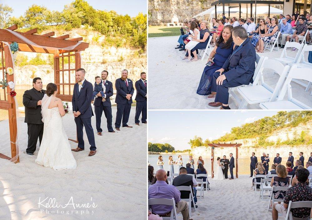 Wedding, Beach Ceremony, White Sand, Bride and Groom, Bluff, Sunset Bluffs, Washington MO