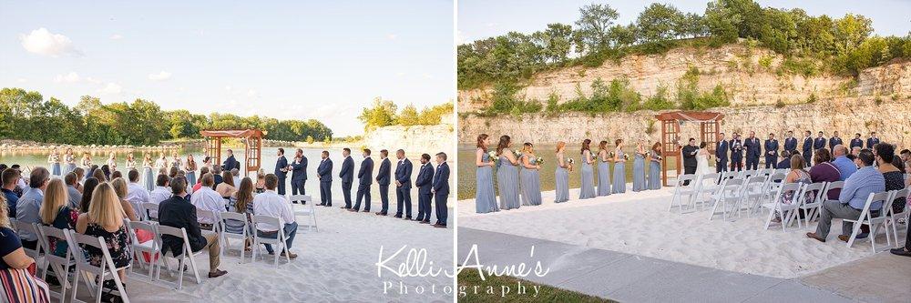 Wedding, ceremony, beach wedding, white sand, large bluff, lake, bridal party, guest, sunset bluffs, washington mo