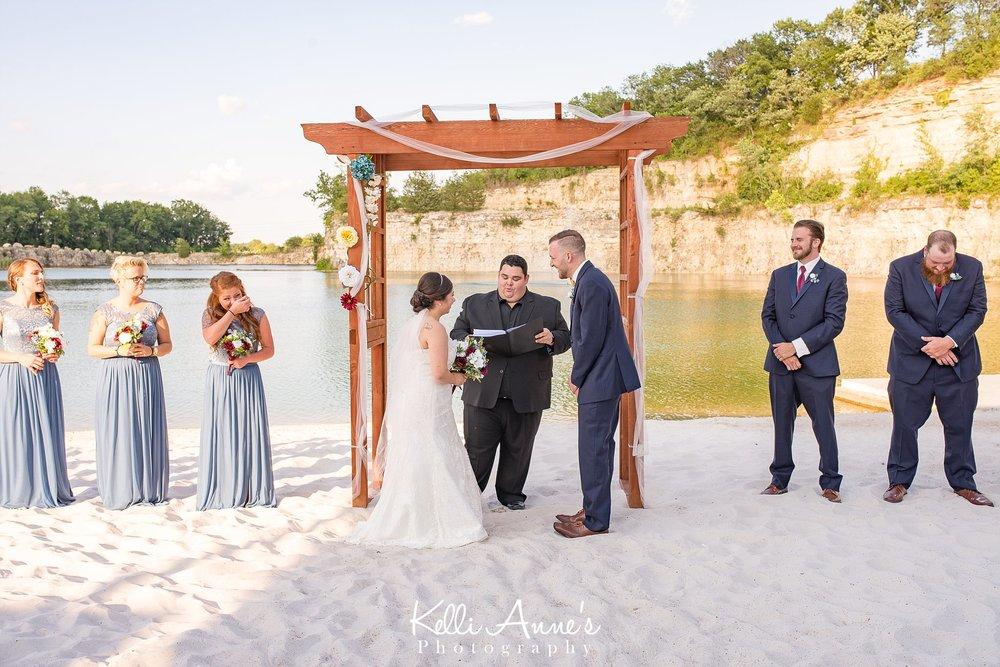 Beach Wedding, Bride and Groom, White sand, Lake, Bluff, wood arbor, Sunset Bluffs