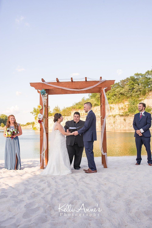Beach Wedding, Bride and Groom, White Sand, Wood Arbor, Lake, Bluff, Sunset Bluffs, Washington MO