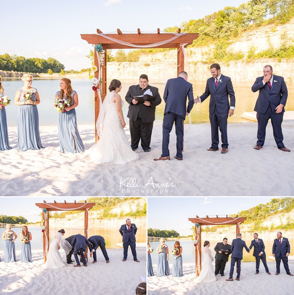 Ceremony, drop ring, white sand, lake, bluff, beach wedding, best man, bride and groom, sunset bluffs, washington mo