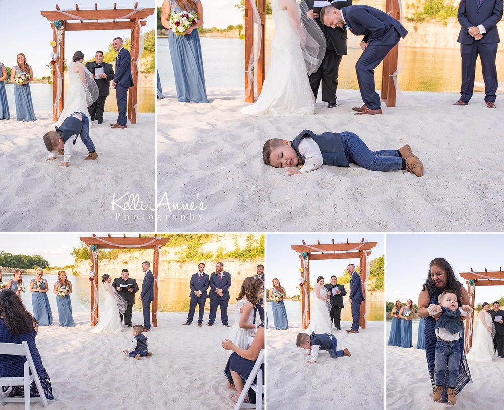 Ring bear, laying in white sand, ceremony, beach wedding, bride and groom. mother of the bride, bluff, lake, sunset bluffs