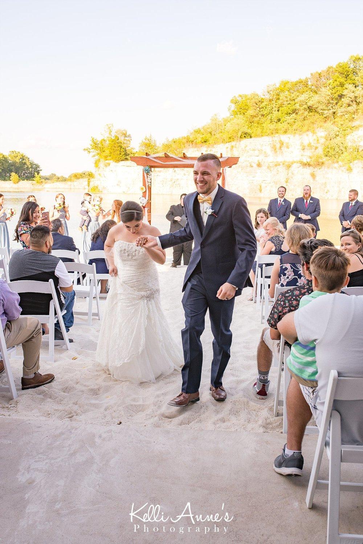Beach wedding, Ceremony, white sand, husband and wife, sunset bluffs