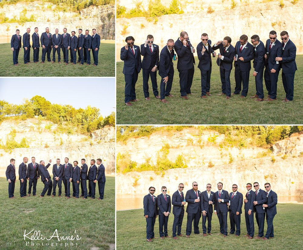 Groom and groomsmen portraits, shades, sunglasses, beer, bluff, sunset bluffs