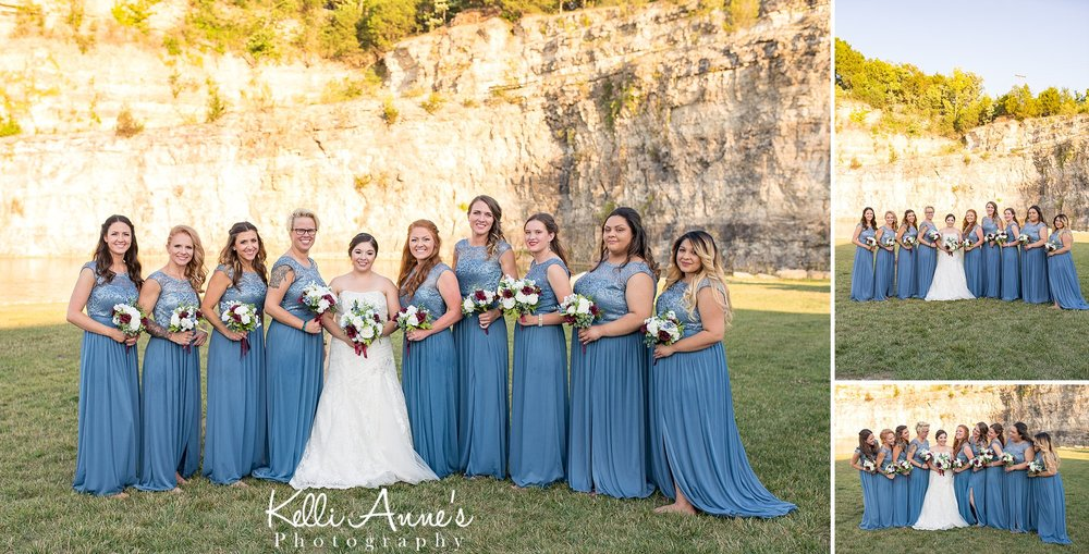 bride and bridesmaid portraits, bluff, bouquets, slate dresses, 8 bridesmaids, sunset bluffs