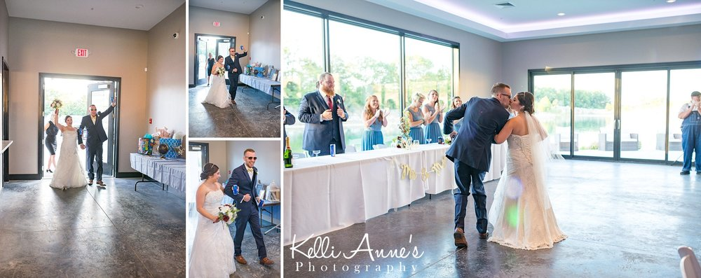 Grand Entrance as Husband and Wife, Reception, Natural Light, Sunglasses, Sunset Bluffs