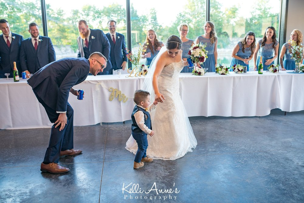 Bride and Groom with their Son, 2 year old, Ring Bear, Dancing, Bridal Party, Sunset Bluffs
