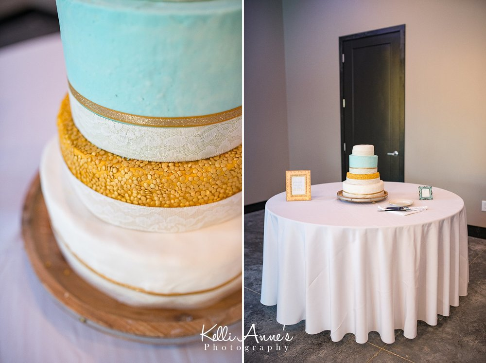 3 Tier Wedding Cake, White, Gold, Teal, Lace, Sunset Bluffs
