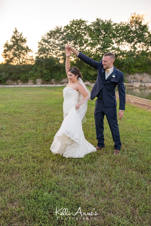 Bride, Groom, Dancing, laughing, sunset, sunset bluffs