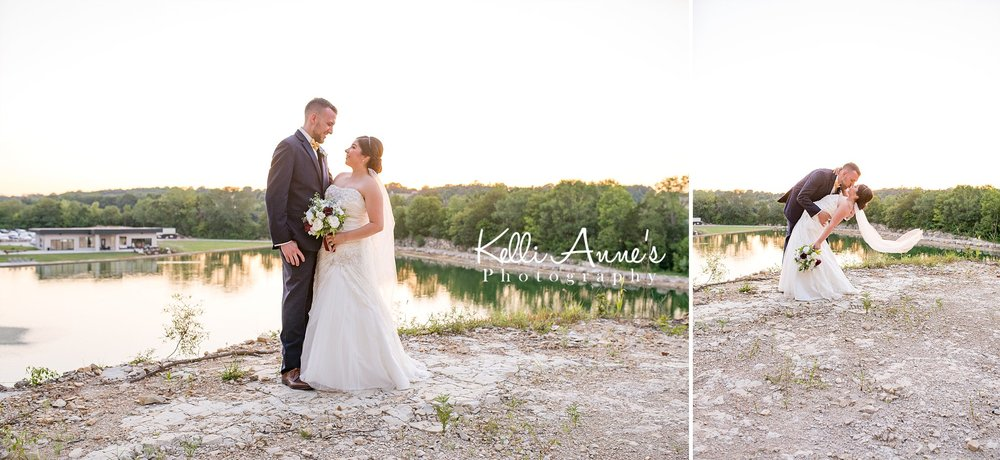 Bride and Groom, Portraits, Lookout, Bluff, Veil, Kissing, Sunset, Sunset Bluffs, Washington MO