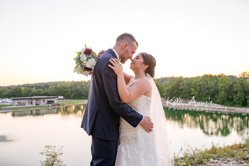 Bride and Groom, Portrait, Touching noses, Bluff, outlook point, sunset, sunset bluffs, washington mo