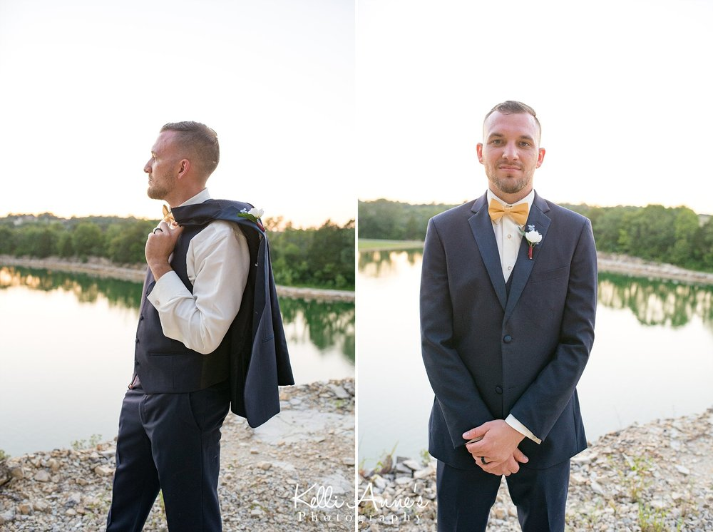 Groom, Portrait, Navy Jacket, Yellow bow tie, sunset, black wedding band, lake, lookout point, bluff, sunset bluffs, washington mo