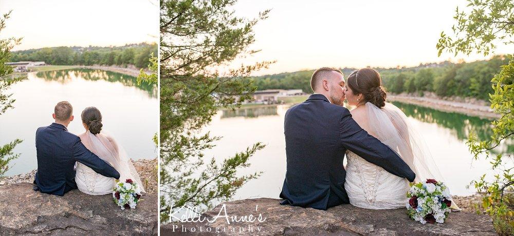 Lookout point, Lake, Bride and Groom, Bouquet, Cedar Trees, Sunset, Wedding dress, Veil, Rock, Sunset Bluffs, Washington MO
