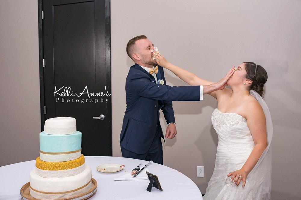 Cake Smashing, Bride and Groom, three tier cake, Cake cutting