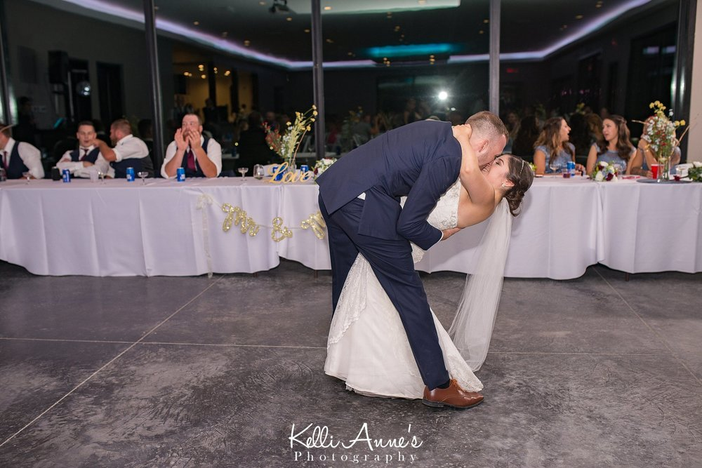 Bride and Groom, First Dance, Reception, Spinning, Dipping, Kiss