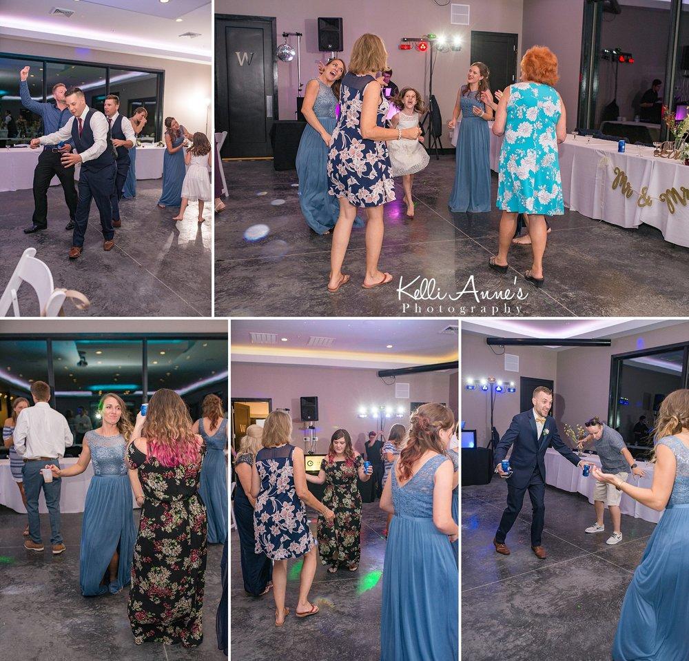 Reception, Dancing, Getting down, Group Dancing, Open Dancing, bride, groom, children, kids, bridal party, sunset bluffs, washington mo