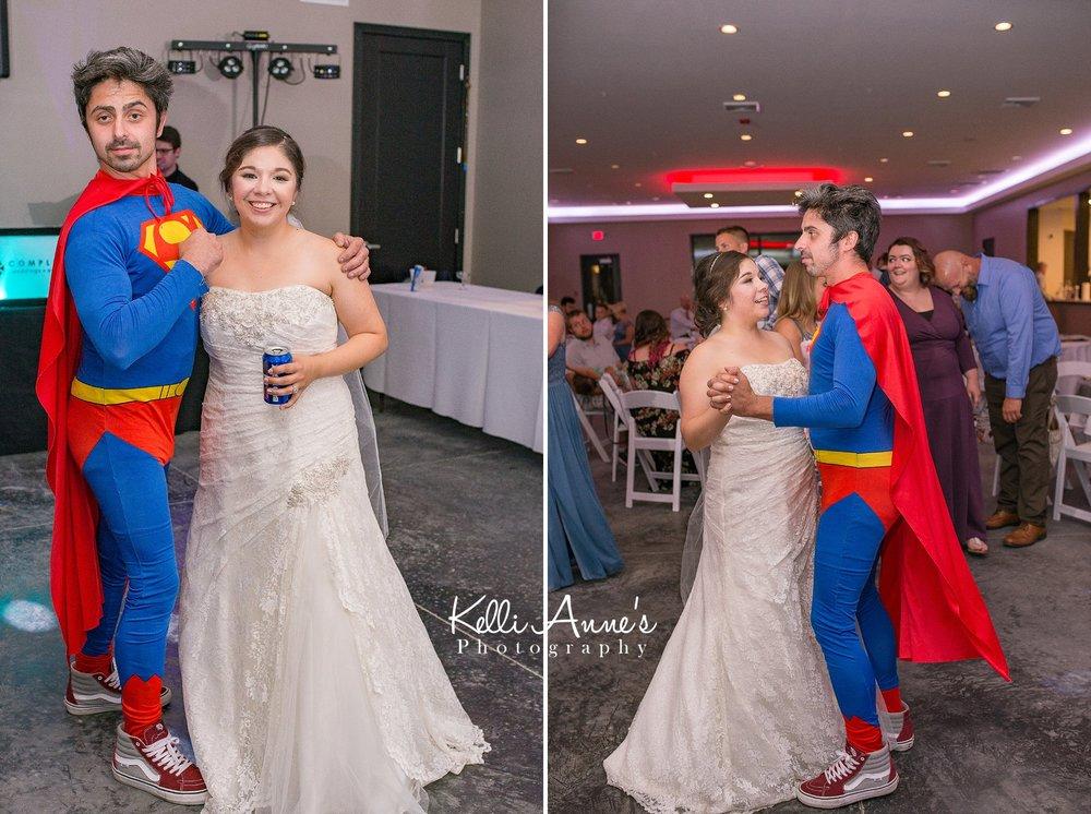 Spiderman, Bride, Cape, Dancing, Reception, Sunset Bluffs