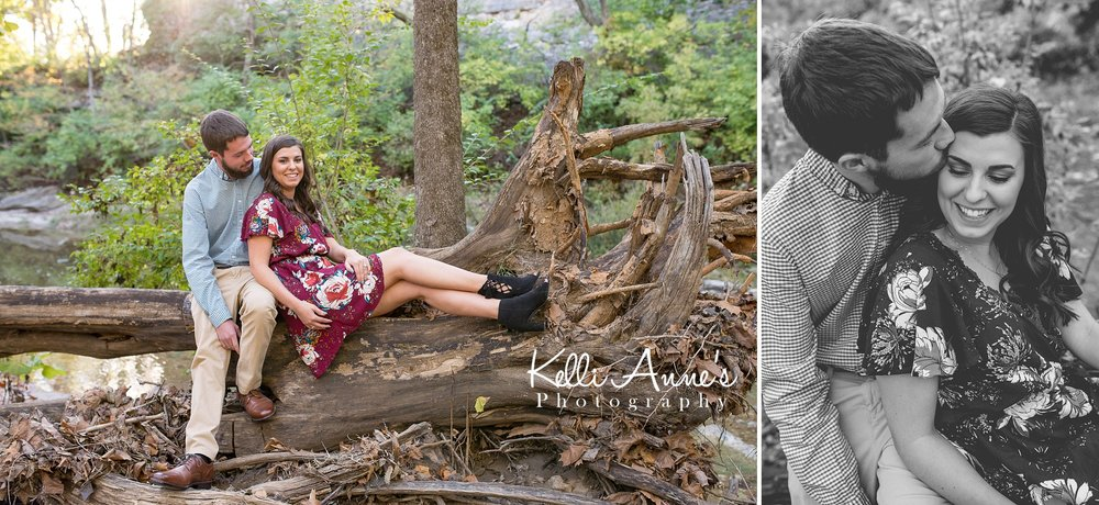 Engagement Session, Fall, Capen Park, Columbia MO, River, Creek, long, Trees, Floral Dress, Black and White, Black heels