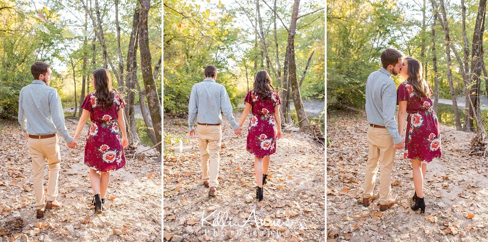 Engagement Session, Fall, Capen Park, Columbia MO, River, Creek, Trees, Floral Dress, Black and White, Black heels, Walking, Kissing