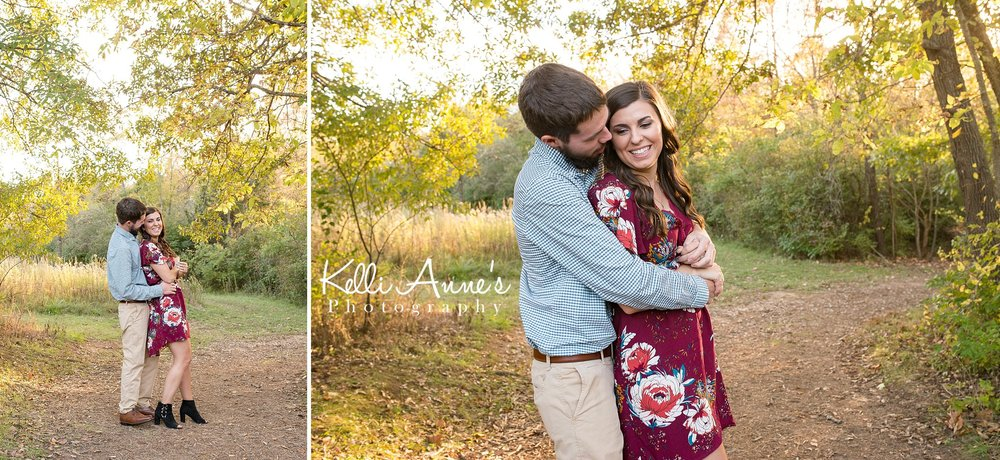 Engagement Session, Fall, Capen Park, Columbia MO, Sunset, Dancing, Trees, Floral Dress, , Black heels, laughing, romantic