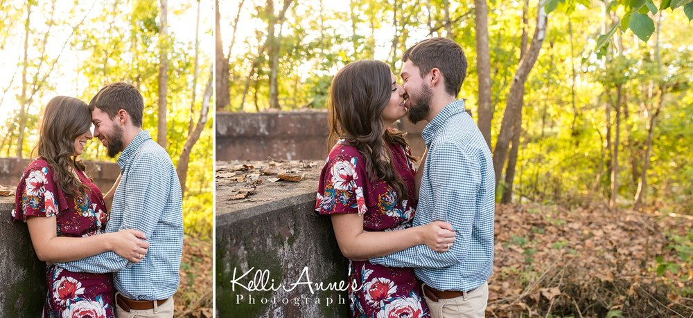 Engagement Session, Fall, Capen Park, Columbia MO, woods, warm, sun kissed, sunset, Trees, Floral Dress, Rust