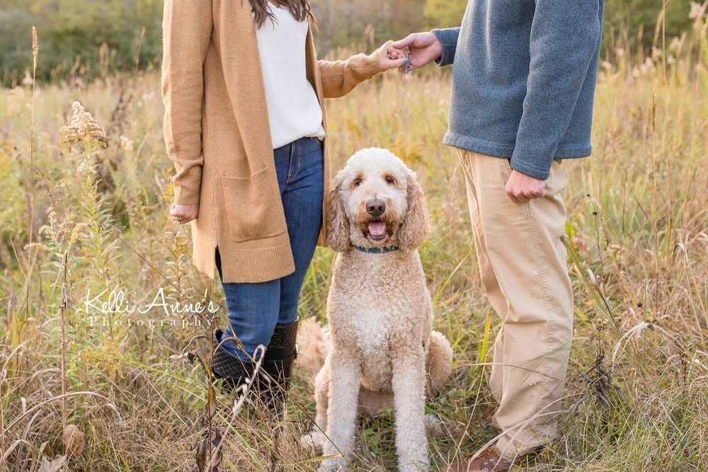 Engagement Session, Fall, Capen Park, Columbia MO, field, blanket, plaid blanket, woods, warm, sun kissed, sunset, Trees, Floral mustard sweater, jeans, boots, goldendoodle