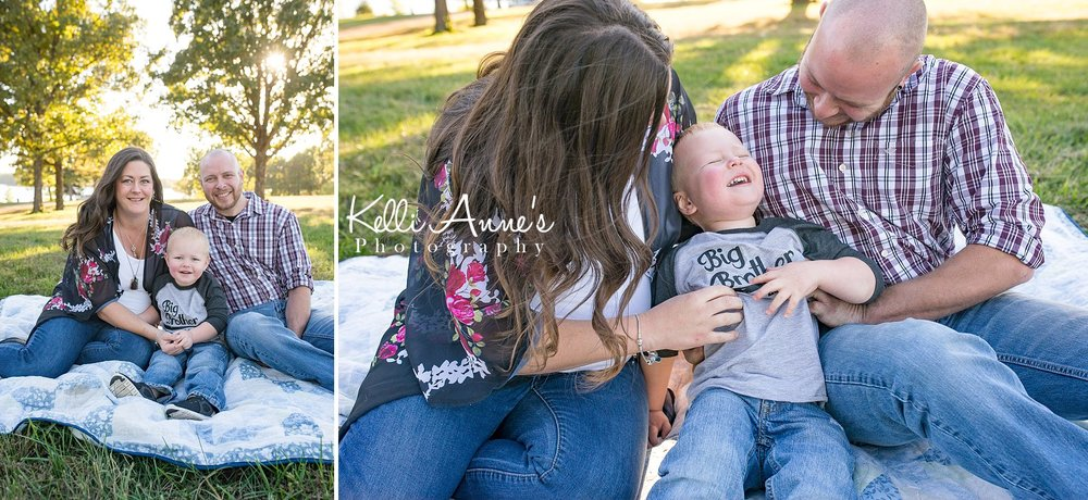 Family of 3, Springfield MO, Fellows Lake, Laughing, Tickling, Tickle time, Big Brother, Backlighting, sun, trees, lake