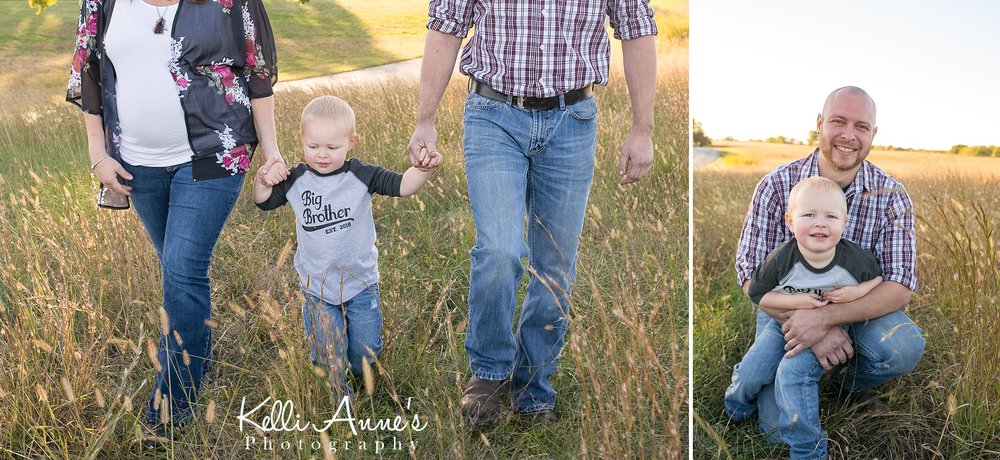 Tall grass, father son, walking, laughing, big brother, field, fellows lake, springfield mo, jeans, family of 3, maternity, baby bump