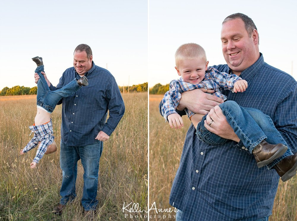 Dad, son, laughing, hanging upside down, laughs, silly, field, sunset, fellows lake, springfield mo