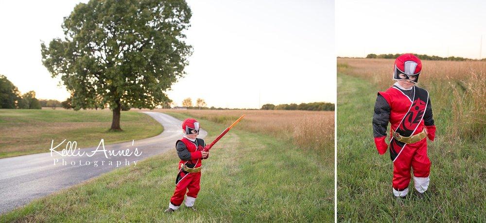 red power ranger, costume, little boy, halloween, playing, sword, field, fellows lake, springfield mo