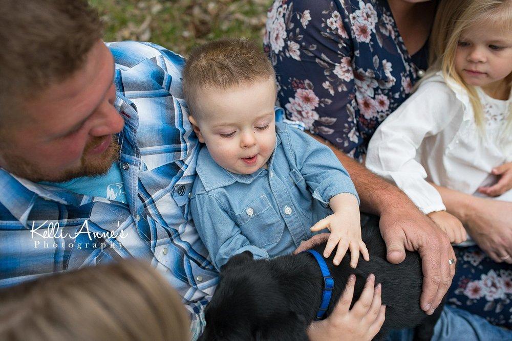 Family of 5, little boy, lab puppy, puppy love, blue, puppy cuddles, springfield mo