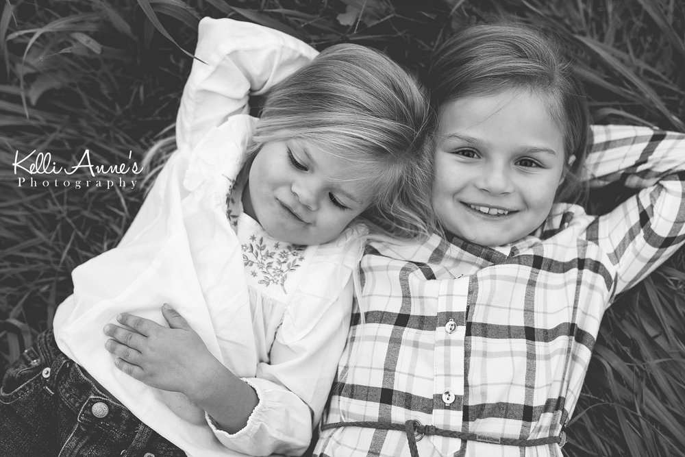 Sisters, Black and White, smile, grass, laying, best friends, girls, springfield mo
