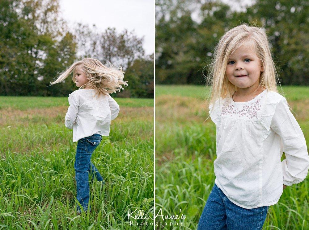 Dancing, sprinning, white shirt, blue jeans, grass, portrait, little girl, big eyes, trees, field, springfield mo