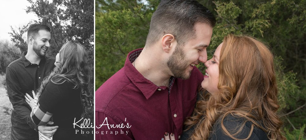 Redhead winter engagement session with cedar trees