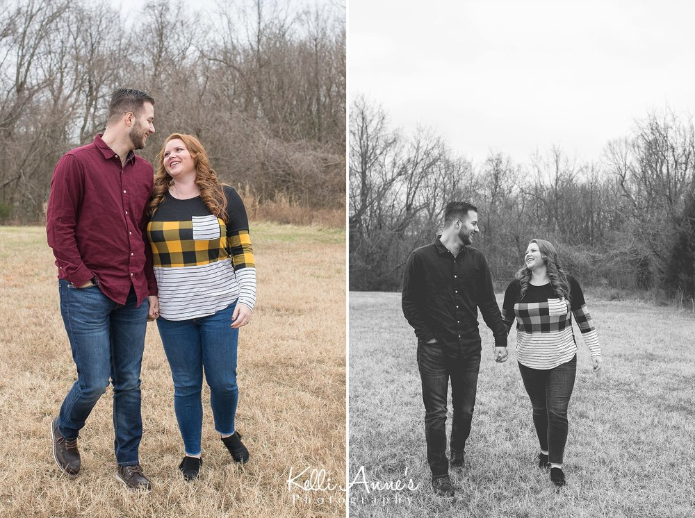 springfield mo winter engagement session laughing and walking