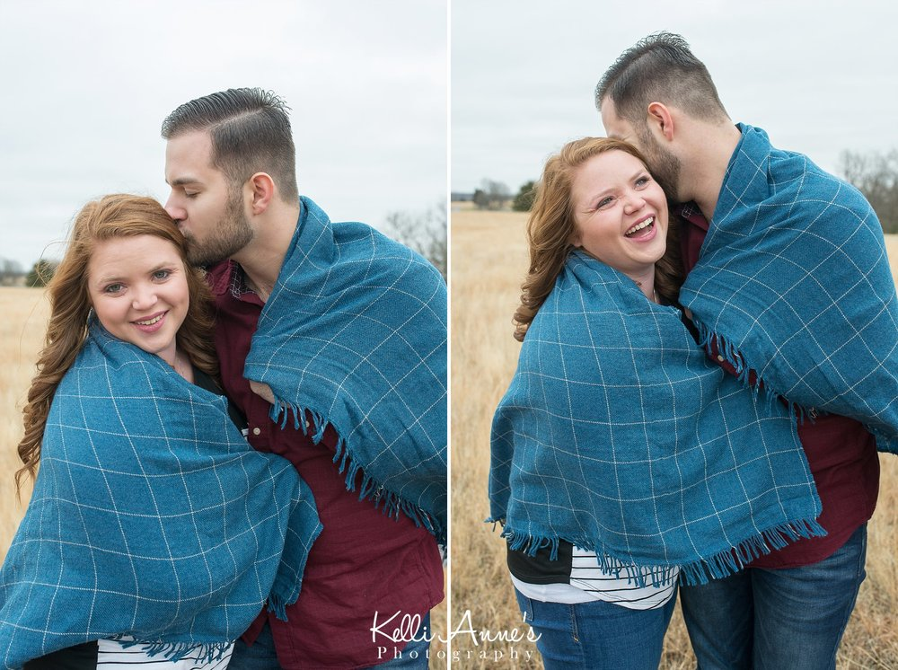 Winter engagement wrapped up in blanket springfield mo