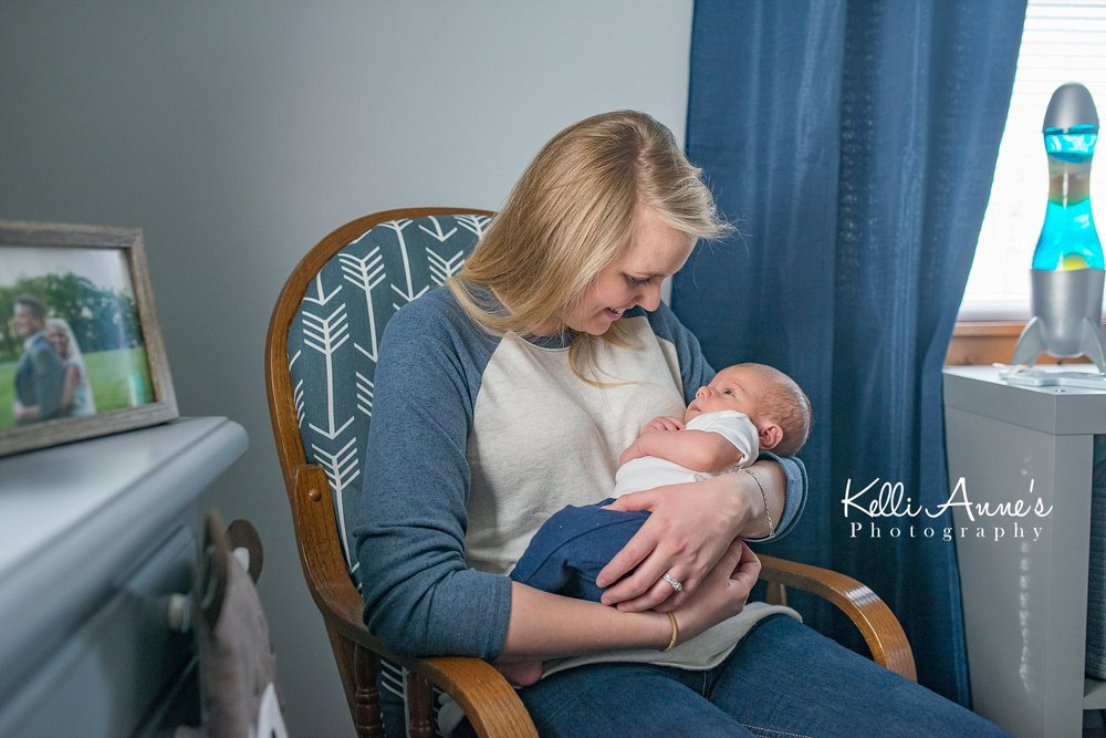 In home Lifestyle Newborn Session Nursery Mom and Son