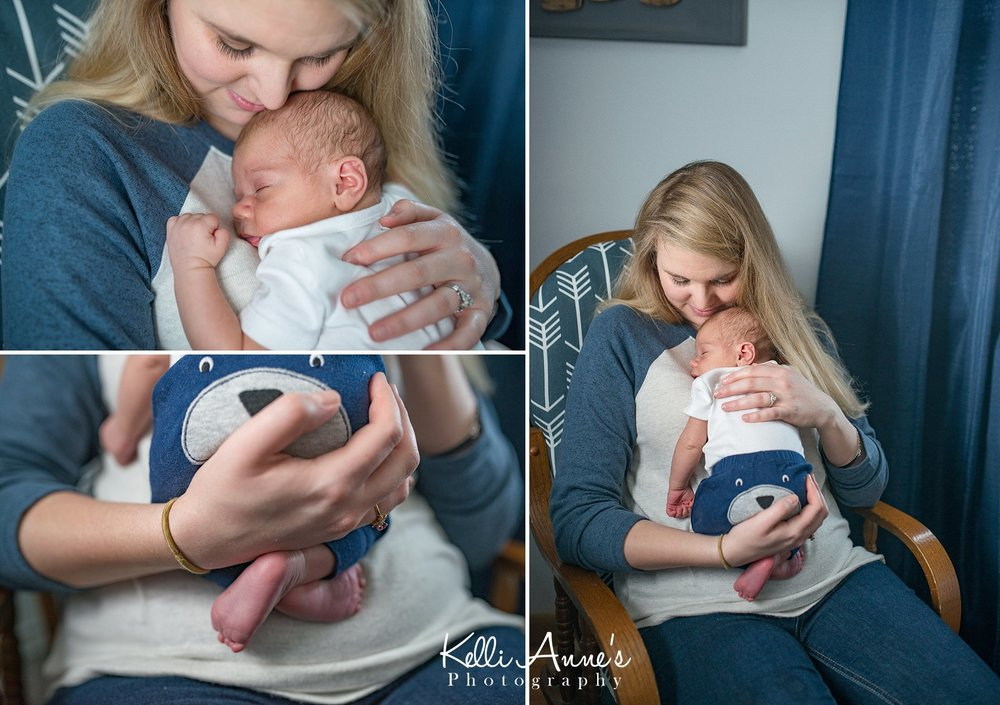 In home Lifestyle Newborn Session Nursery snuggles with mom