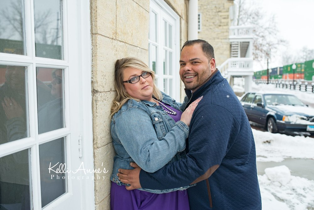 Downtown, Train Station Snowy engagement session