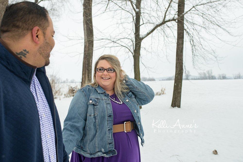 Snowy Riverside Jeff City engagement