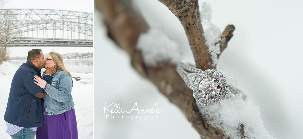 Snowy Riverside state capital jeff city engagement session