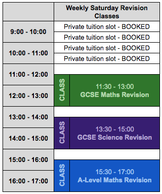 Saturday revision classes