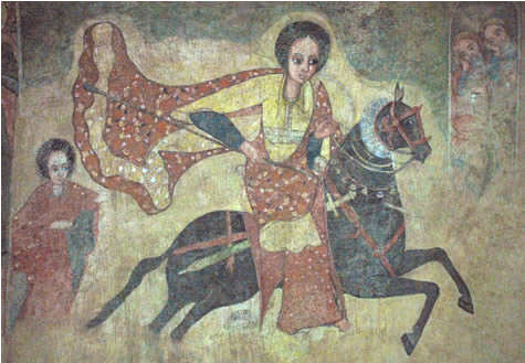 Mural representing the Queen of Sheba (Makeda), c. 1100s–1200s, Lalibela, Ethiopia. Zagwe dynasty. National Museum of Ethiopia, Addis Ababa. Image source: Wikimedia Commons, released under CC-PD-Mark.