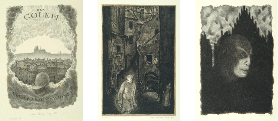 Hugo Steiner-Prag, Illustrations for the book  Der Golem , by Gustav Meyerink. Portfolio of lithographs, Leipzig, 1916. Courtesy of The Center for Jewish History.