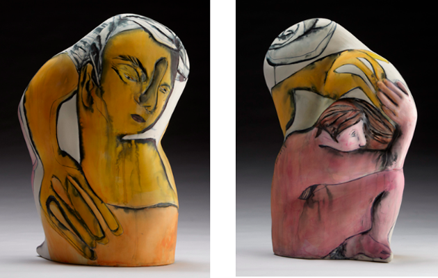 Jess Riva Cooper,  Dybbuk , 2013. Ceramic, sandblasted glaze, acrylic ink, and decal. Courtesy of the artist.