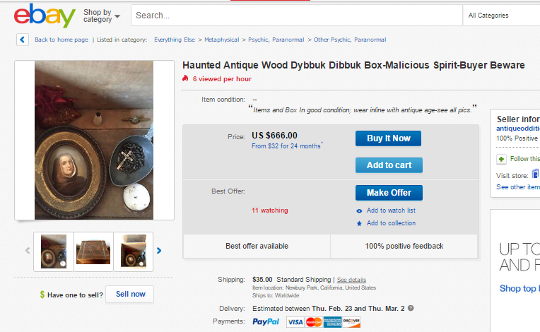 Listing for a haunted Dybbuk box on ebay.com.