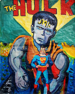 Joel Silverstein,  Hulk Meets Superman , 2014. Acrylic on paper mounted on wood panel, 40 x 50 in. Courtesy of the artist.