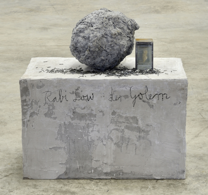 Anselm Kiefer,  Rabi Löw: der Golem , 1988–2012. Plaster, wood, oil, lead, glass, synthetic resin, steel and charcoal. 37,4 x 37,4 x 22,83 in. Courtesy Galerie Thaddaeus Ropac, London-Paris-Salzbourg. © Anselm Kiefer. Photo: Charles Duprat. (AKI 1369).