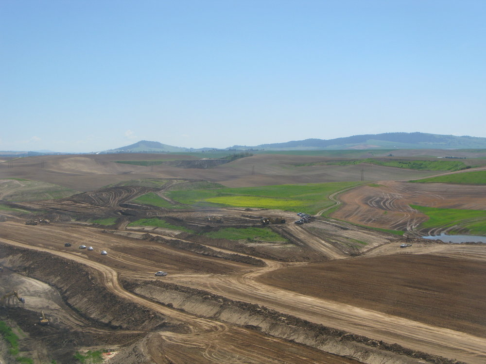 Aerial view of earthwork operations at Pullman-Moscow Regional Airport