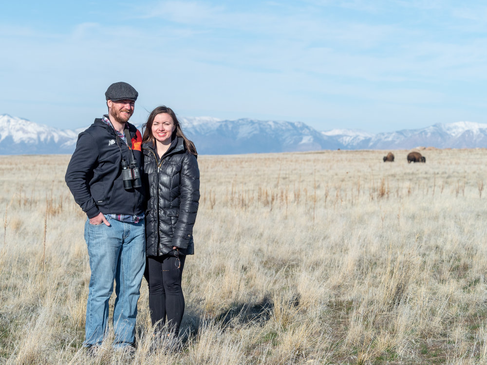 Amanda's brother Evan and his girlfriend Katherine came to visit for a few days. Here they're posing with bison on Antelope Island.